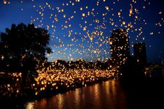 ArtPrize entry in Grand Rapids MI: Lights in the Night - where hope takes flight. Thousands of sky lanterns were launched from coordinated key points in the downtown area at twilight. All lanterns were launched by participants of the event. It was totally volunteer-based. It was truly magical and an event I will never forget.