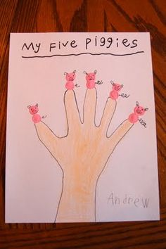 """kindergarten: I HEART CRAFTY THINGS: """"Piggies"""" by Audrey Wood with Craft. Have the kids have fun by counting to five, and maybe introduce counting by fives. This craft is adorable for our farm unit. Pig Crafts, Farm Crafts, Kitty Crafts, Paper Crafts, Farm Activities, Letter Activities, Three Little Pigs, This Little Piggy, Fingerprint Crafts"""