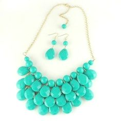 NEW Hot Trend Turquoise Bubble Bib Resin Statement Necklace WITH EARRINGS