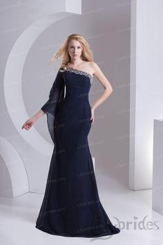 Mermaid/Trumpet One-shoulder Stretch Satin Chiffon Floor Length Evening Dress