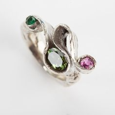 Silver seaweed ring with emerald, tourmaline and ruby - Emily Nixon Jewellery