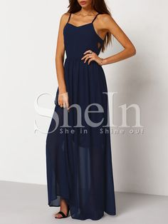 Navy Spaghetti Strap Perfect Maxi Dress -SheIn(Sheinside) Mobile Site