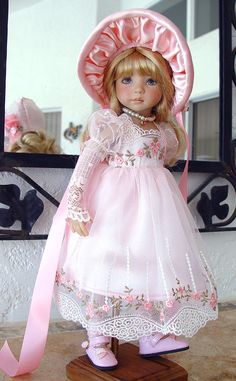 Lace Dress fits Effner 13, Little Darling. Regency, Jane Austen. LittleCharmers    www.LittleCharmersDollDesigns.com
