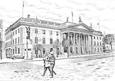 The General Post Office, O' Connell Street. General Post Office, Irish Art, Art For Sale, Dublin, How To Draw Hands, Louvre, Street, Drawings, Building