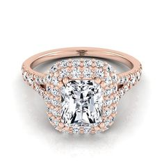 Radiant Cut Diamond Double Halo Engagement Ring With Diamond Pave Shank In Rose Gold Ct. Radiant Cut Engagement Rings, Double Halo Engagement Ring, Perfect Engagement Ring, Rose Gold Engagement Ring, Radiant Cut Diamond, Morganite Ring, Shank, Diamond Rings, Fine Jewelry