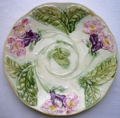 RARE French majolica plate ONNAING, 1900: Pink Freesias and green leaves