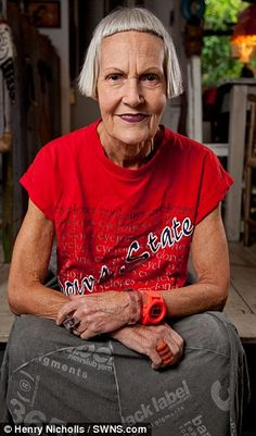 "With her sharply cut fringe and penchant for Doc Marten boots, Jean Woods is no one's idea of a frail old grandmother - and the glamorous septuagenarian says she has absolutely no intention of changing. 'I have always been interested in fashion, but more so as I have got older,' explains Jean. 'I like to dress as I want to dress. When I put something on, I don't think ""will anybody think I look good?"" I just decide in my own mind whether I look good - I don't really care about other people.'"