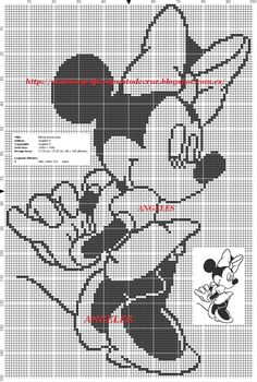 Disney Cross Stitch Patterns, Cross Stitch Kits, Cross Stitch Charts, C2c Crochet Blanket, Mickey Mouse Characters, Fillet Crochet, Cross Stitching, Beading Patterns, Blackwork