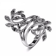 Silver Plated Black CZ Retro Leaf Ring