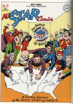 """Irwin Hasen drew the cover for All-Star Comics #37, featuring the Justice Society of America's first battle with the Injustice Society of the World.  Hasen, the regular artist for Green Lantern, created Wildcat and later they syndicated comic strip Dondi.  """"There was no sense of being in hallowed halls or anything,"""" he said of his days at DC when I interviewed him a few years ago.  """"We were just little kid artists who were happy to be getting paid do what we loved."""""""