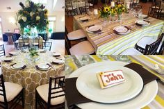 Yellow and brown #WeddingInspiration from our #bridalshowcase at The Matthews House. #Cary #NC #Venue