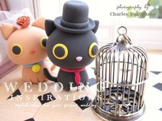 Wedding Cake Topper-love kitty,love cat with basket  - customizable :3