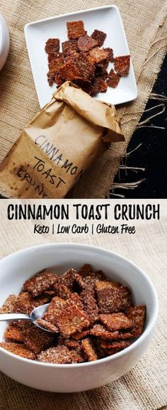 Welcome back cereal into your low carb life with out low carb cereal version of cinnamon toast crunch! Welcome back cereal into your low carb life with out low carb cereal version of cinnamon toast crunch! Cereal Keto, Low Carb Cereal, Crunch Cereal, Keto Foods, Keto Snacks, Diabetic Snacks, Paleo Diet, Ketogenic Diet, Low Carb Sweets
