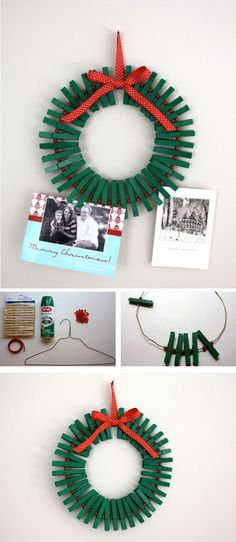 Very creative card holder Christmas wreath. You can make use of card holders and form them into fun looking Christmas wreaths for your house decor. They're easy to find and very simple to make into a wreath.