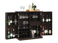 Baxton Studio Stamford Dark Brown Modern Bar Cabinet