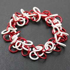 Shiny Red Shaggy Loops Stretchy Chainmail Bracelet