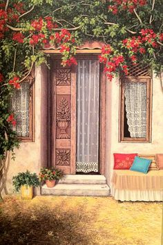 Pictures To Paint, Art Pictures, Cool Doors, Turkish Art, Photo Booth Backdrop, Painted Doors, Beautiful Paintings, House Painting, Mail Art
