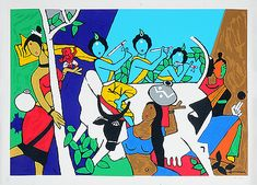 M F Husain - Krishna Leela - Image size: x 36 in x cm) Paper size: 28 x 40 in x cm) This item will be sold unframed Please note: Edition details may vary as this print is part of a collection printed exclusively for the Doha, Dubai and Qatar markets. Indian Art Paintings, Classic Paintings, Abstract Paintings, Watercolor Paintings, Abstract Art, Tanjore Painting, Krishna Painting, Indian Folk Art, Indian Artist