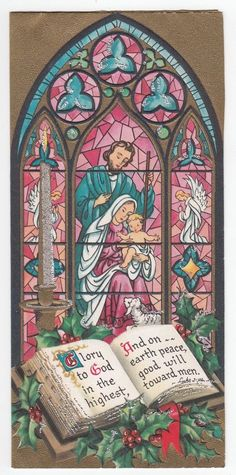Vintage Greeting Card Christmas Stained Glass Church Window Mary Baby Jesus L18