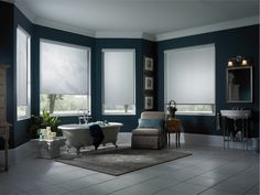Gorgeous Light Filtering Roller Shades Featured In A Spacious Bathroom