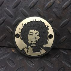 Jimi Hendrix brass points cover. Hand engraved of course. #metalengraving #pointscover #harley #harleydavidson #custommotorcycles #chopper #bobber #kustom #brass #ratbike #bratstyle #custom #sportster #handengraving #gascap