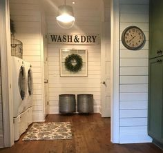 Washer dryer with closet new to it Laundry Room Wall Decor, Laundry Room Doors, Laundry Room Signs, Bathroom Laundry Rooms, Laundry Room With Cabinets, Wood Floor In Bathroom, Shiplap In Bathroom, Laundry Room Lighting, Small Laundry Rooms