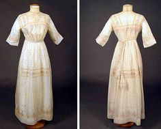 Summer dress, 1913. Handkerchief linen hand-embroidered with blue dot ground and stylized rose bands, trimmed with handmade bobbin lace. Silk cord & tassel belt, center back closure. Augusta Auctions