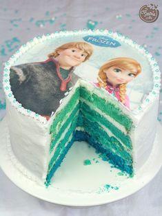 Dégradé gâteau Reine des Neiges