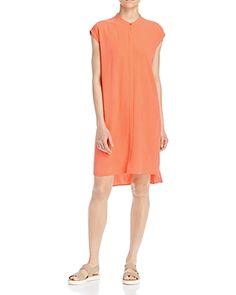 Eileen Fisher High Low Silk Shirt Dress