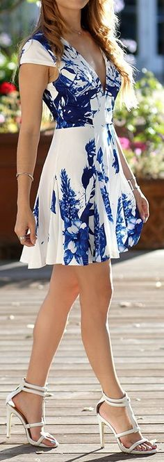 Paint like pattern Dress, Heels and silver bracelets - sweet summer evening... Ylime xxx