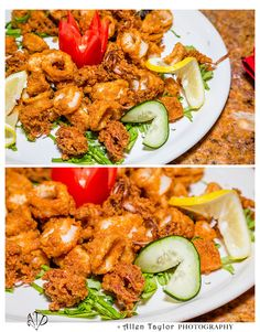 Calamares Al Fuego - Tender deep fried calamari served with a classic Spanish romesco sauce. Deep Fried Calamari, Kung Pao Chicken, Fries, Spanish, Tasty, Classic, Ethnic Recipes, Sweet, Food