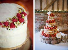 raspberry and strawberry wedding cakes.