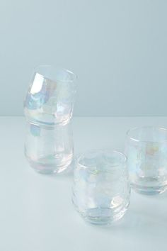 Iridescent Stemless Wine Glasses, Set of 4 by Gather Anthropologie in White, Glassware White Wine Glasses, Stemless Wine Glasses, Wine Cellar Racks, Wine Rack, Wine Decor, Expensive Wine, Cheap Wine, Wine Fridge, Wine Storage
