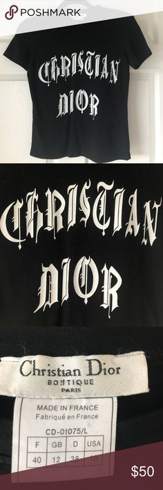"""Black Christian Dior Graphic Tee Authentic Christian Dior Black Graphic Tee. Size """"40""""; Fits a size small. Christian Dior Tops Tees - Short Sleeve"""