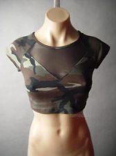 Camouflage Camo Mesh Army Street Punk Midriff Crop Cropped Top 23 mv Shirt S M L