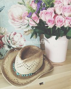 Cant get any better. Turquoise, cowgirl hat and shabby chic pink