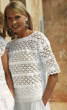 Ladies Crochet Summer Tops with Choice of Sleeveless or Elbow Crochet Cardigan Pattern, Crochet Blouse, Knit Crochet, Crochet Stitches, Crochet Summer Tops, Crochet Tops, Vintage Crochet Patterns, Crochet Clothes, Etsy