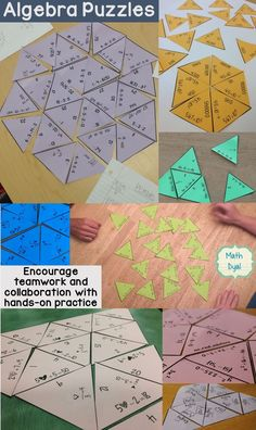 Use puzzles to help practice algebra concepts - solving equations, solving inequalities, quadratic formula, simplifying radicals, order of operations