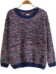 Blue Long Sleeve Bandage Knit Sweater - Sheinside.com