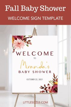Fall Baby Shower Welcome Sign by LittleSizzle. Set the tone for your fall baby shower and decorate your party with this gorgeous floral fall baby shower welcome poster with burgundy flowers. The welcome sign is perfect for any fall baby shower. Easily personalize yourself with the name of the mom-to-be and the date of the baby shower. Download, edit, print and display. #fallbabyshowerdecor #littlepumpkin #autumnbabyshower #burgundyflowers #burgundybabyshower #fallbabyshowerideas #welcomebaby