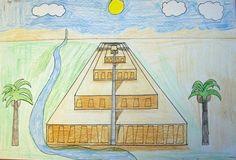 Perspective drawing on ziggurat of Sumer