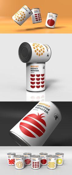 Budget Canned Food, packaging design. Designed by Wunsch. Food Packaging Design, Packaging Design Inspiration, Budget Meals, Food Design, Package Design, Budgeting, Mood, Canning, Baskets