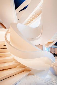 designedinteriors:  johnnybravo20:  Modern staircase take byMatthias Haker  I'd say this is more contemporary than modern, but stunning nevertheless