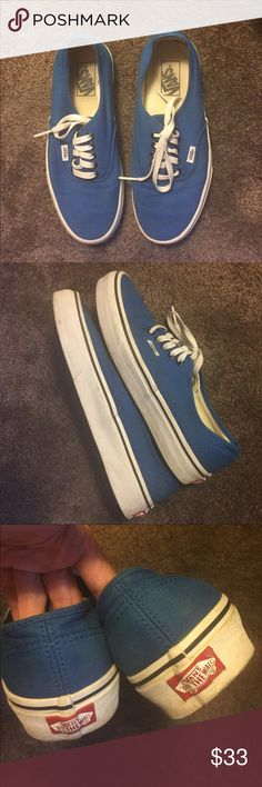 Immaculate Ladies 9.5 & Mens 8 blue VANS! These are in fantastic condition, for they were only worn a couple times. There are zero flaws. No stains whatsoever. I will wash before sending because they haven't been worn in over a year so I hope they go to a great home! They practically look brand-new! Trade value $40. Thanks! Vans Shoes Sneakers