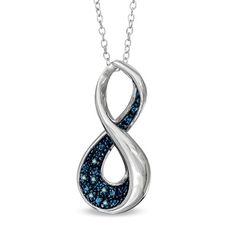 I've tagged a product on Zales: Enhanced Blue Diamond Accent Infinity Loop Pendant in Sterling Silver