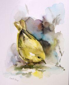 Yellow Warbler Bird Original Watercolor Painting Bird Watercolor Art #Impressionism