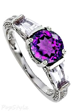 Genuine Amethyst Engagement Ring