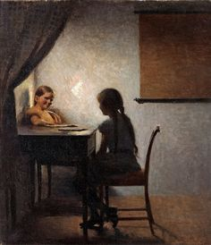 Peter Ilsted - Interior with Two Girls [1904]