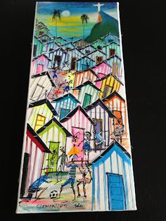 Favela Canvas Painting. Local painters create paintings such as this one to sell as souvenirs to tourists visiting Brazilian cities, especially Rio.