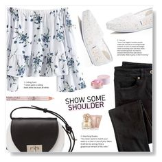 """""""Off Shoulders"""" by misukaha ❤ liked on Polyvore featuring Wrap, TOMS, Joanna Maxham, Lancôme and Vince Camuto"""
